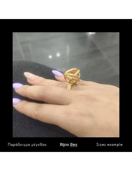 Griechischer Designer Ring aus Bronze gold PLANITI 2