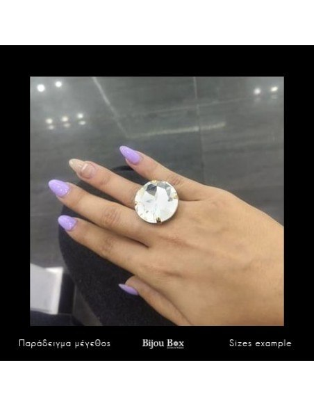 Statement ring with big crystal gold TELIV 3