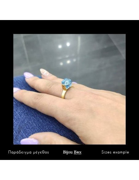 Solitaire ring of bronze with blue crystal gold CUBE 2