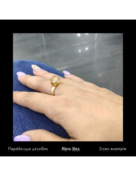 Solitaire ring of bronze with brown crystal gold CUBE 3