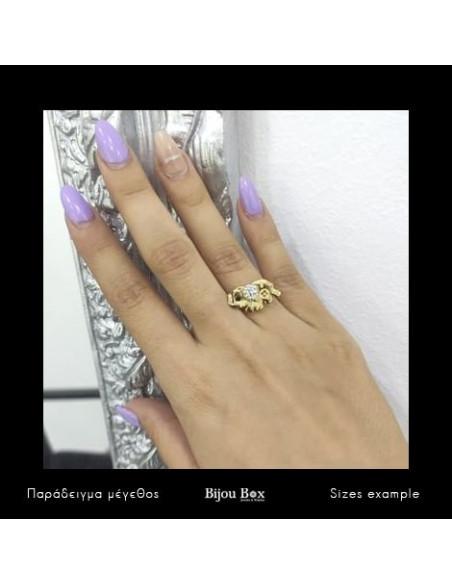 Δαχτυλίδι ελέφαντας με ζιργκόν χρυσό BAMBO 2