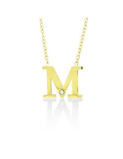 "Initial Necklace M ""My"" with crystal gold MELO"