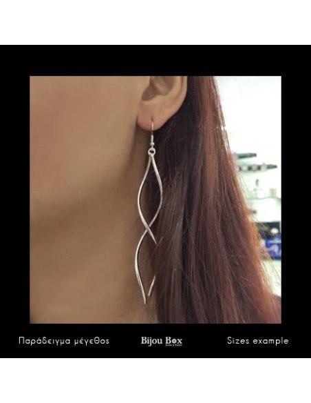 Μακριά σκουλαρίκια από μπρούτζο χειροποίητα ασημί SWING 2