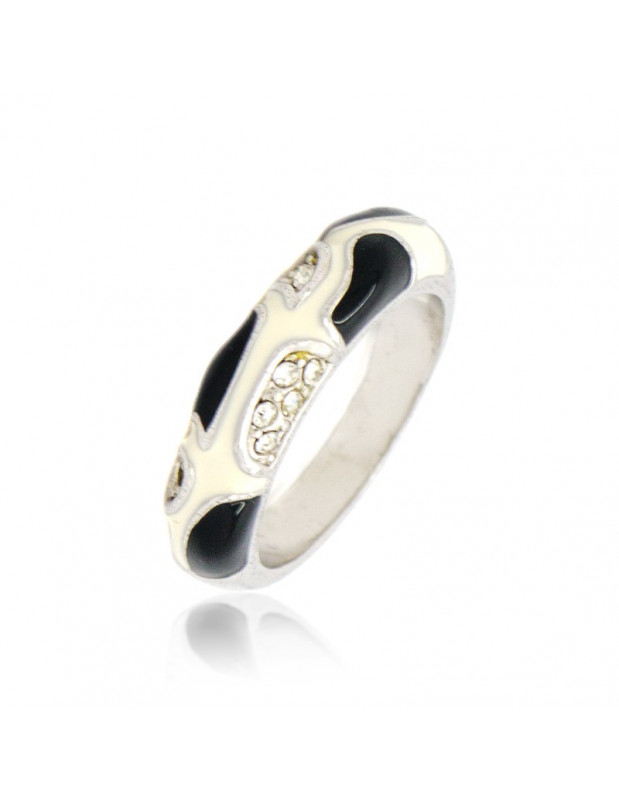 Ring with crystals white black LILI