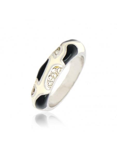 Δαχτυλίδι με ζιργκόν άσπρο μαύρο LILI