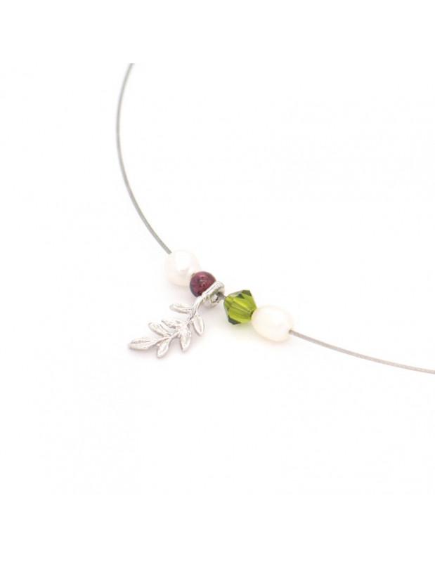 Silver Necklace with crystals ELIA