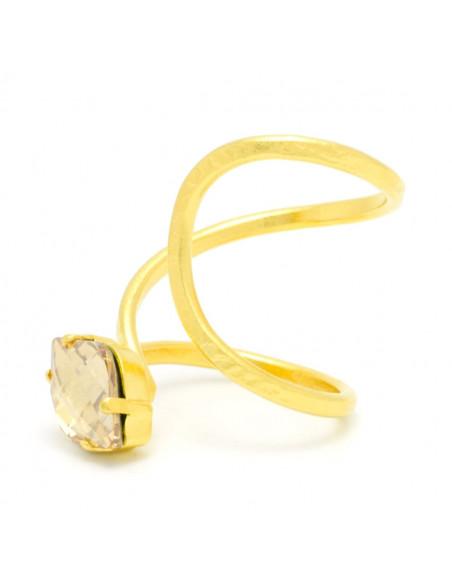 Δαχτυλίδι από μπρούτζο με Swarovski® Elements ζιργκόν χειροποίητα χρυσό ILIOR 3