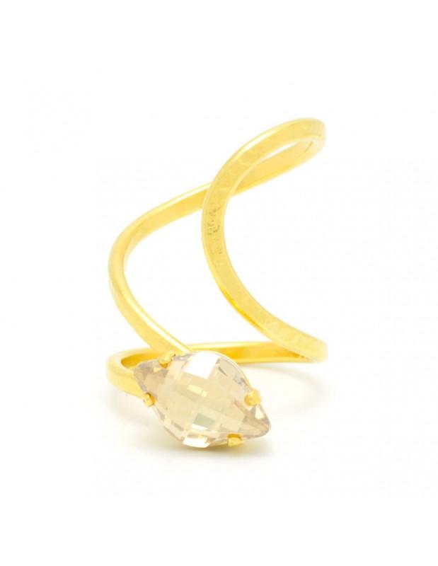 Δαχτυλίδι από μπρούτζο με Swarovski® Elements ζιργκόν χειροποίητα χρυσό ILIOR