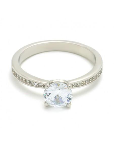 Ασημένιο Μονόπετρο δαχτυλίδι με ζιργκόν ασήμι 925 TEMPARE