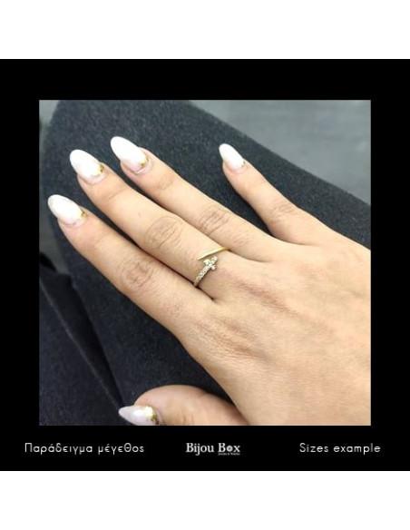 Ασημένιο δαχτυλίδι με σταυρό χειροποίητα χρυσό STAYRO 2