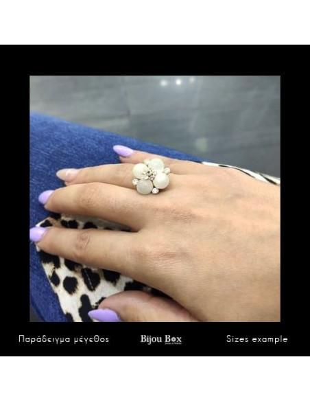 Δαχτυλίδι με μαργαριτάρια χειροποίητα χρυσό TEA 2