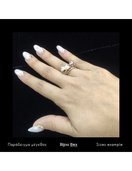 Ring with charms rose gold plated LIGA 2