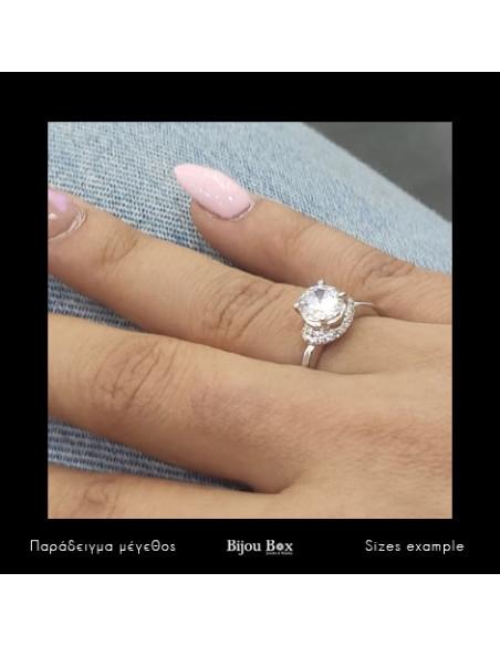 Ασημένιο Μονόπετρο δαχτυλίδι με ζιργκόν ασήμι 925 TEMPARE 3