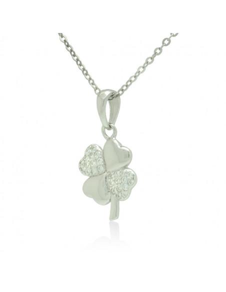 Sterling Silver Necklace with cubic zirconia shamrock handmade TILLAN 2