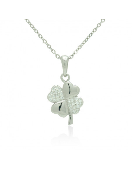 Sterling Silver Necklace with cubic zirconia shamrock handmade TILLAN