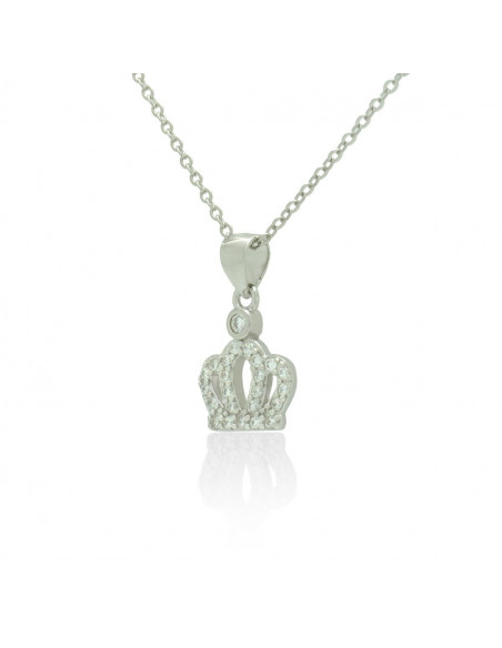 Sterling Silver Necklace with cubic zirconia crown handmade TERIA 2