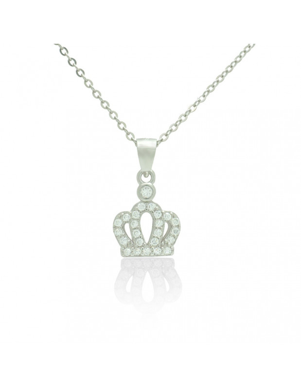 Sterling Silver Necklace with cubic zirconia crown handmade TERIA
