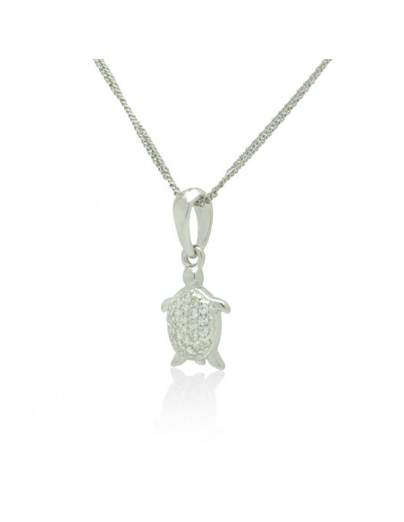 Sterling Silver Necklace with cubic zirconia turtle handmade DASINA 2