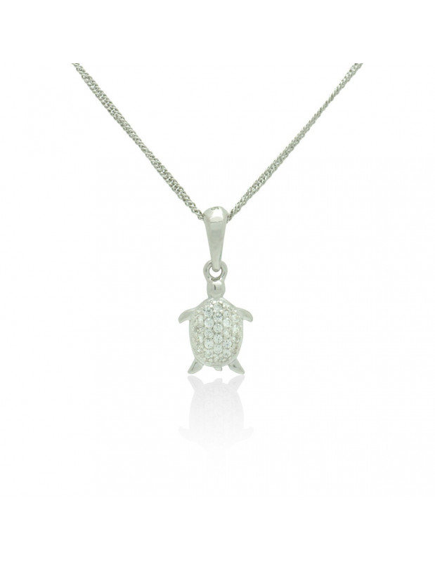 Sterling Silver Necklace with cubic zirconia turtle handmade DASINA