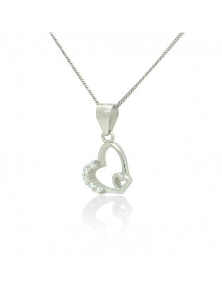 Sterling Silver Heart Necklace with cubic zirconia handmade TISARA 2