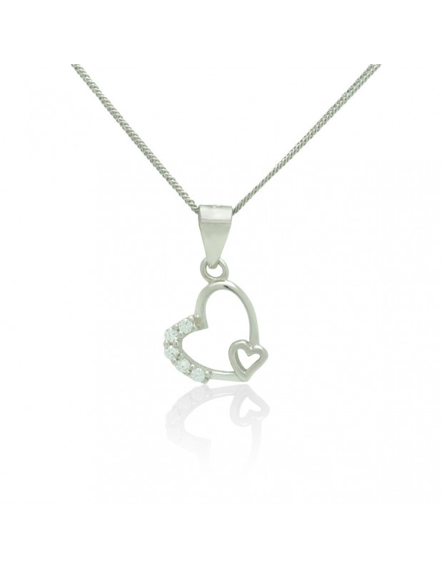 Sterling Silver Heart Necklace with cubic zirconia handmade TISARA