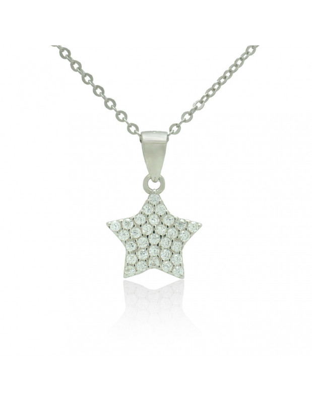 Sterling Silver Star Necklace with cubic zirconia handmade TAMIRA