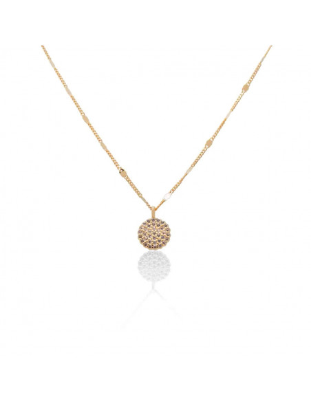 Sterling Silver Necklace with pendant cubic zirconia handmade rose gold ROSSI