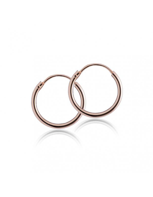 Σκουλαρίκια κρίκοι από ροζ επίχρυσο ασήμι 12 χιλ SER