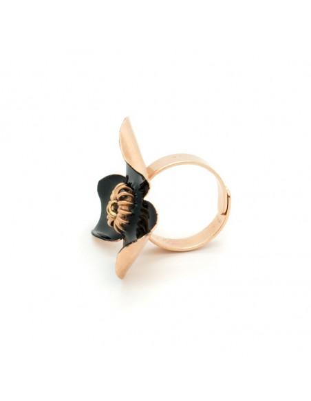 Δαχτυλίδι από μπρούτζο χειροποίητο μαύρο ροζ χρυσό GENIUS 3