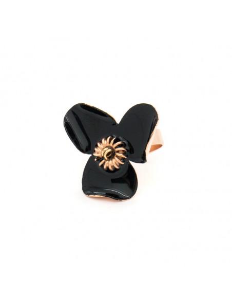 Δαχτυλίδι από μπρούτζο χειροποίητο μαύρο ροζ χρυσό GENIUS