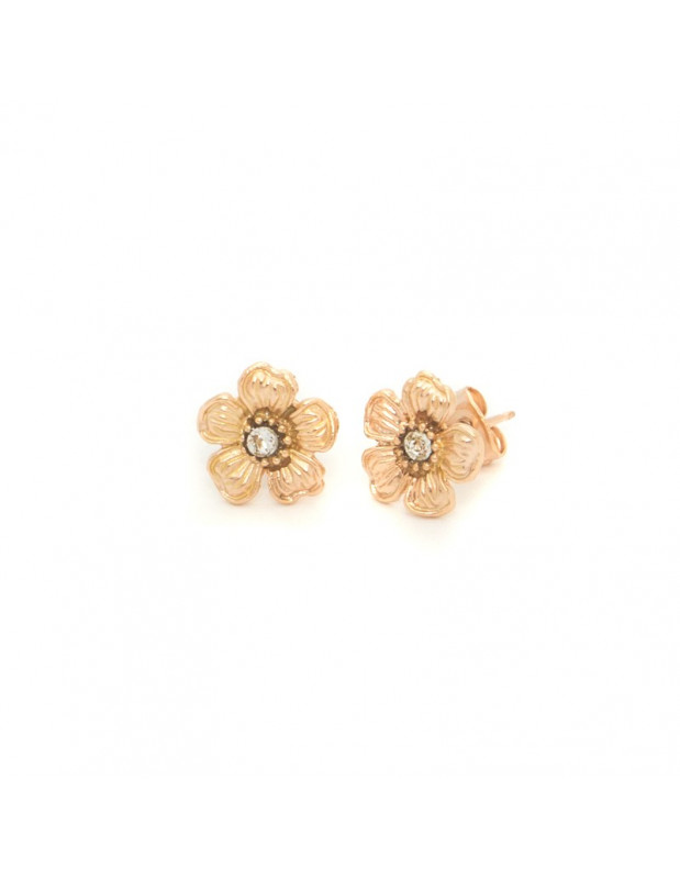 Stud earrings bronze rose gold plated IRIS