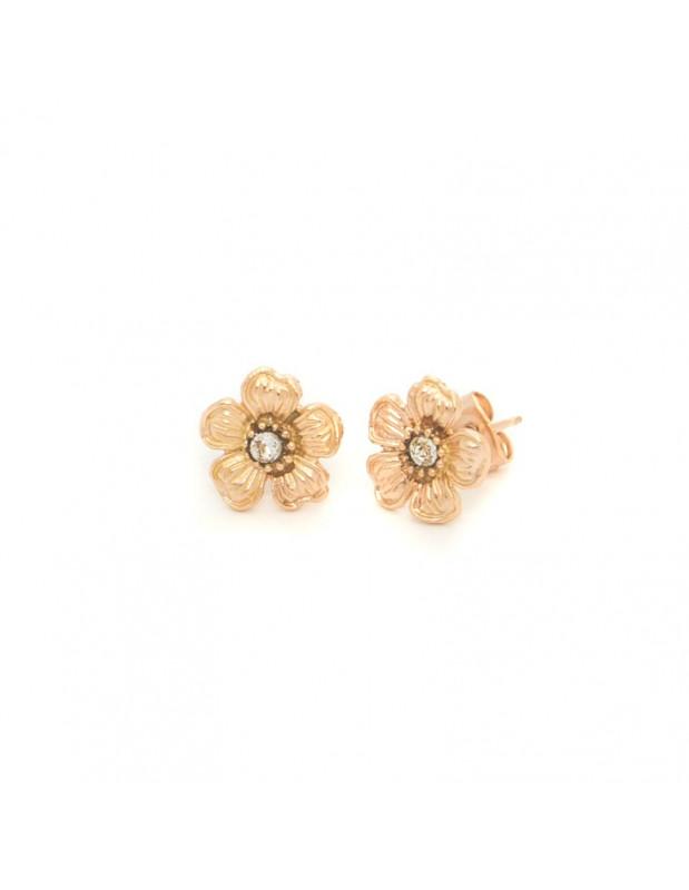 Stud earrings bronze rose gold plated IRIS