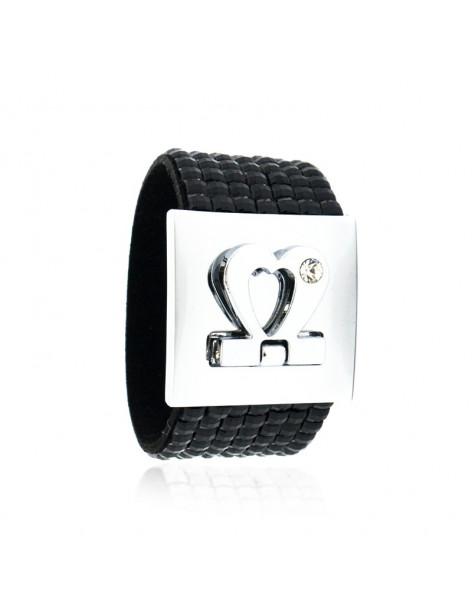 Zirkonia Armband breit schwarz silber BLACK BEL