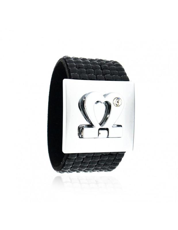 Crystal bracelet wide black silver BLACK BEL
