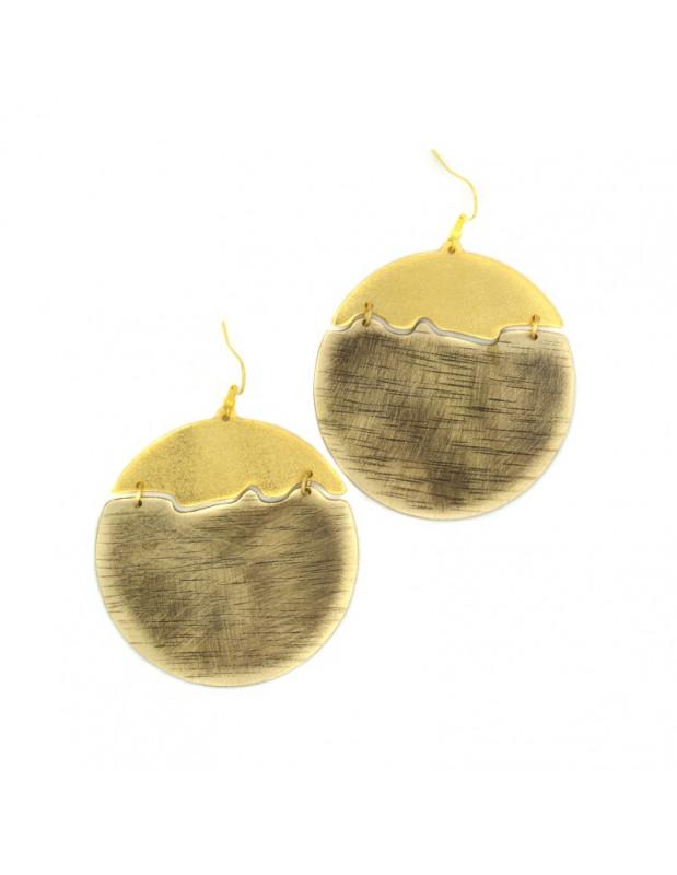 Big Earrings made of bronze gold NOX
