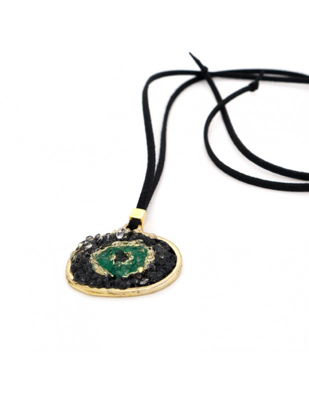 Handmade Necklace with Evil Eye BLACK MATI