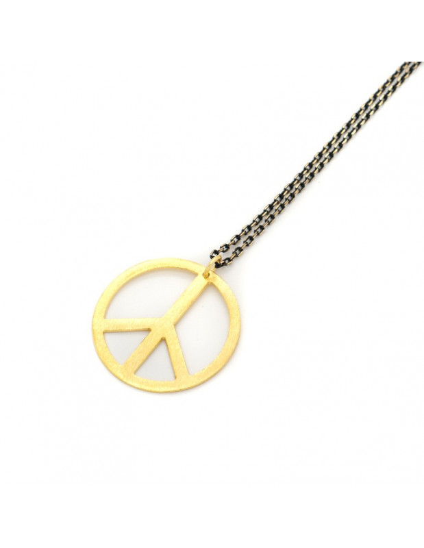 Necklace with gold plated bronze pendant PEACE