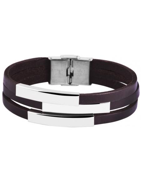 Men's leather bracelet with stainless steel elements VERTIKAL
