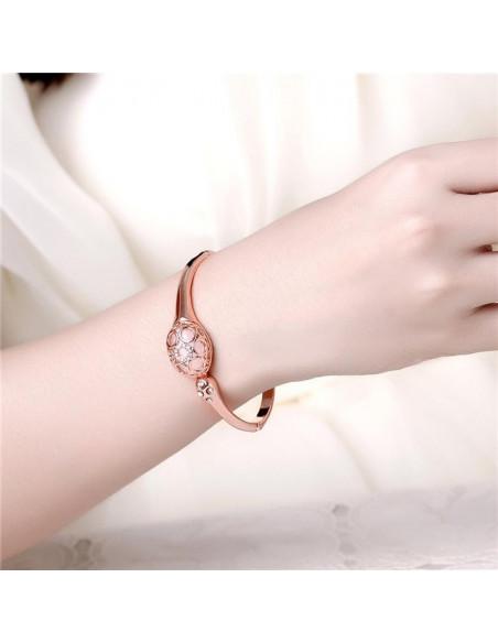 Bangle bracelet with crystals rose gold GLAMOUR 2