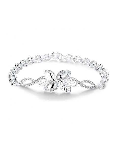 Bracelet with leaves silver plated GERONI