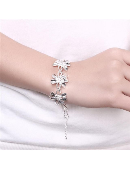 Bracelet with flowers silver BLESS 2