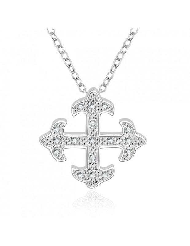 Necklace stainless steel with cloverleaf PERLM