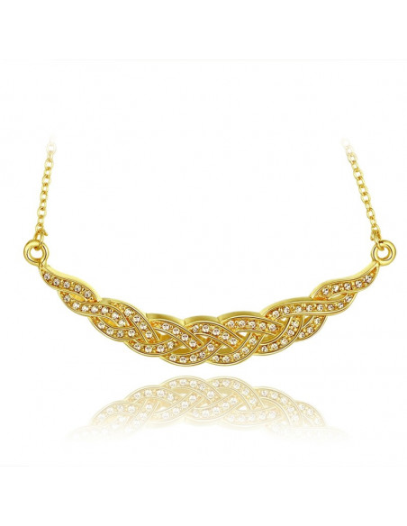 Statement necklace with crystals gold WING