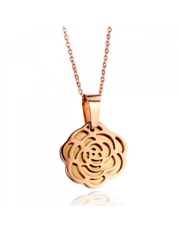 Ατσάλινο Κολιέ ροζ χρυσό ROSE