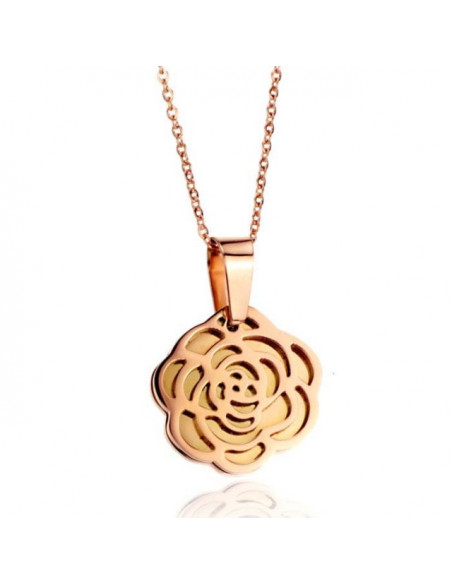 Stainlees steel Necklace rose gold plated ROSE