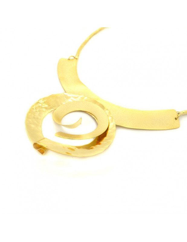 Statement necklace of bronze handmade gold ALISA