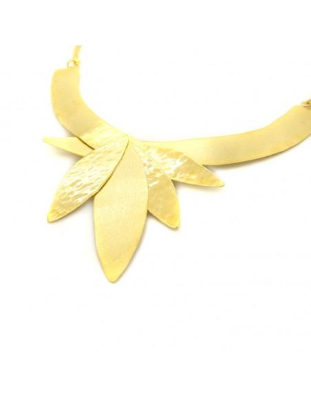 Statement Halskette aus Bronze handgefertigt gold LAMPSI