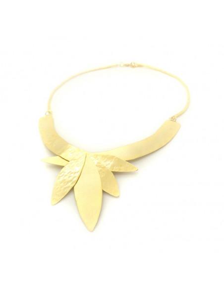 Statement Halskette aus Bronze handgefertigt gold LAMPSI 4