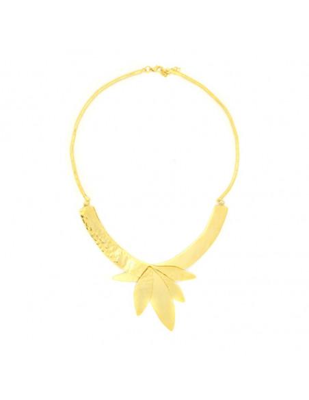 Statement Halskette aus Bronze handgefertigt gold LAMPSI 3