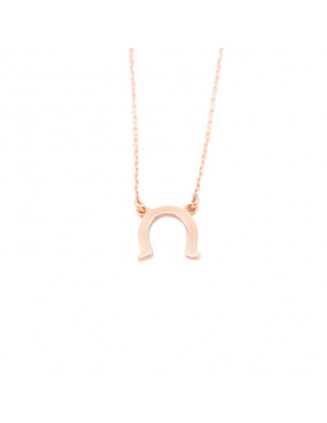 Silver necklace with horseshoe rose gold SEVAL